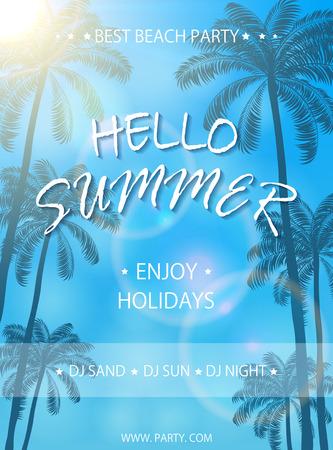 Summer Beach Party op een blauwe achtergrond, flyer sjabloon, Zomervakantie poster met palmbomen, belettering Hallo zomer en genieten van een vakantie, illustratie.