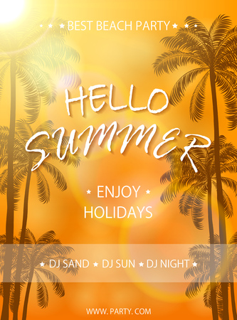orange trees: Summer beach party on orange background, flyer template, Summer holidays poster with palm trees, lettering Hello Summer and enjoy holidays, illustration. Illustration