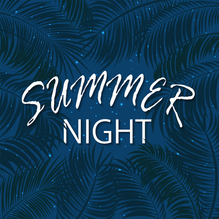 miami south beach: Summer night with palm leaves, palms and stars on night sky background, palm trees and lettering Summer night on blue background, illustration. Illustration