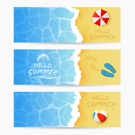 sandy beach: Beach theme, set of cards, inscription Hello Summer and ocean wave on a sandy beach with colored beach ball, flip flops with footprints and beach umbrella, Summer vacation on the beach, illustration.