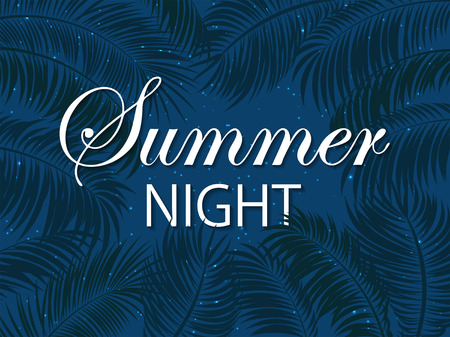 miami south beach: Summer night with palms, palm leaves and stars on night sky background, palm trees and lettering Summer night on blue background, illustration. Illustration