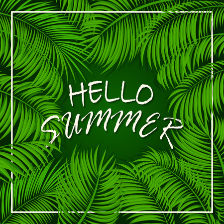 miami south beach: Summer background with palms, frame from palm leaves, palm trees and lettering Hello Summer on green background, illustration.
