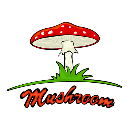 grass isolated: Mushroom in the grass, isolated on white background, illustration. Illustration