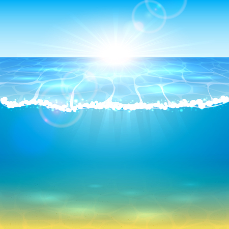 Underwater world. Ocean or sea waves, sandy bottom and sunbeams under water. Bright sun rays and blue water, illustration. Çizim