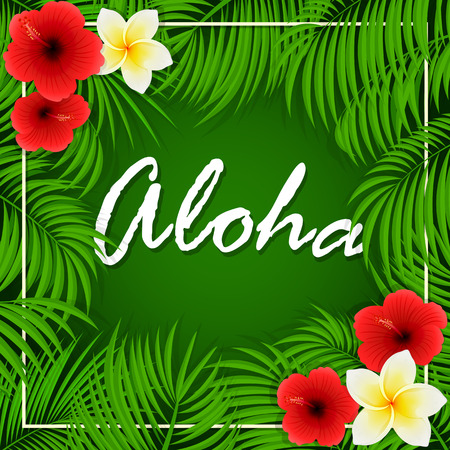 miami south beach: Summer background with inscription of Aloha, palm leaves and Hawaiian flowers, frangipani and hibiscus with palm leaves on green background, illustration.