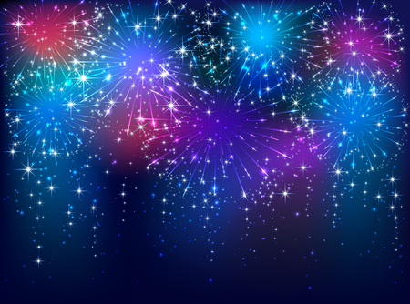 christmas fire: Colorful starry fireworks on dark sky background, illustration.