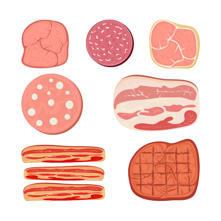 Set of cartoon meat products with ham, salami, bacon, sausage and other meat slices, illustration. Stock Illustratie