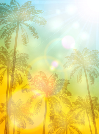 summer trees: Summer theme with palm trees and bright Sun on yellow and blue background, illustration.