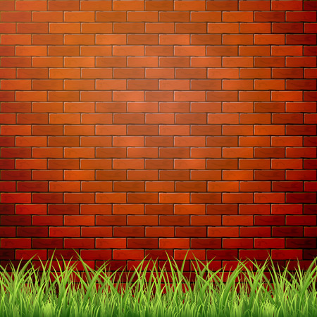 red brick wall: Green grass on a background of red brick wall, illustration.