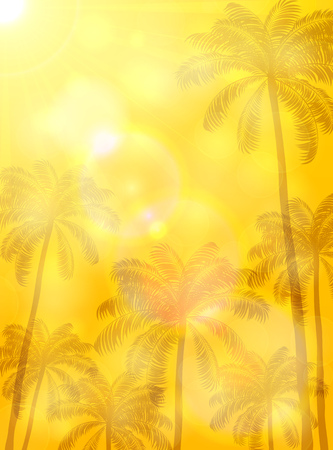 orange trees: Summer background with palms and sun, high palm trees and bright Sun on orange background, illustration.