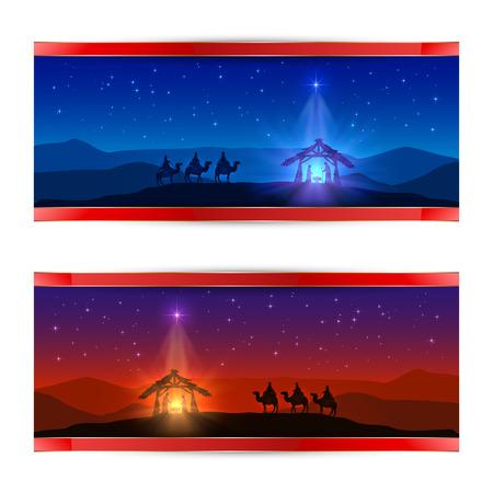 Deux cartes de Noël avec étoile de Noël, la naissance de Jésus et trois hommes sages, illustration.