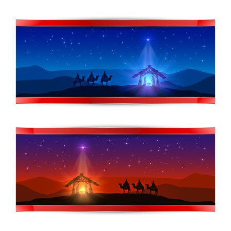 Two Christmas cards with Christmas star, birth of Jesus and three wise men, illustration. Vectores