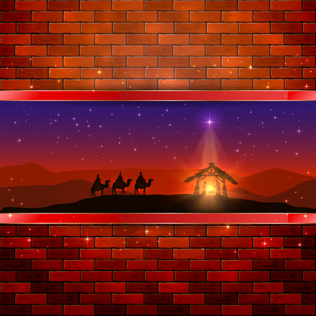 wise men: Christmas scene the birth of Jesus with Christmas star and three wise men, on brick wall background, illustration.