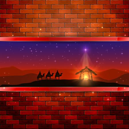 reyes magos: Navidad escena del nacimiento de Jesús con la estrella de la Navidad y tres hombres sabios, en el fondo de la pared de ladrillo, ilustración. Vectores