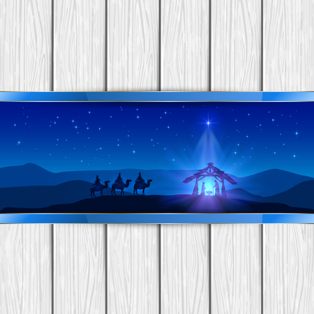wise men: Christmas scene the birth of Jesus with Christmas star and three wise men, on white wooden background, illustration.