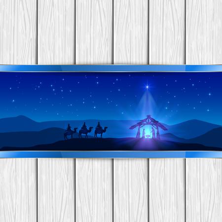 reyes magos: Navidad escena del nacimiento de Jesús con la estrella de la Navidad y tres hombres sabios, en el fondo de madera blanca, ilustración.