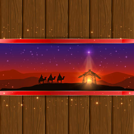 reyes magos: Christmas scene the birth of Jesus with Christmas star and three wise men, on wooden background, illustration.