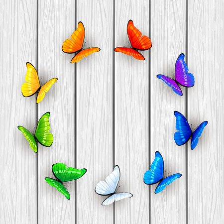 wooden circle: Set of multicolored butterflies arranged in a circle on white wooden background, illustration. Illustration