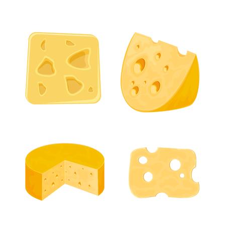 gouda: Set pieces of cheese, isolated on white background, illustration. Illustration