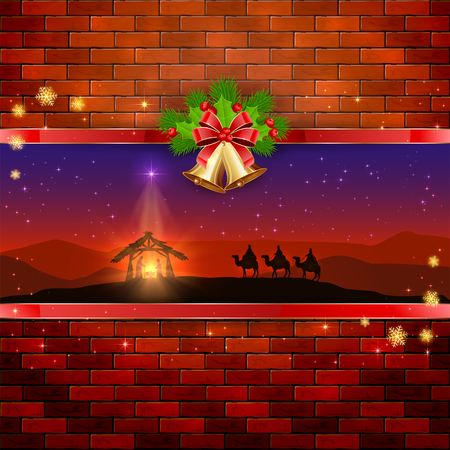 brick wall background: Christmas scene the birth of Jesus with Christmas star, three wise men, golden bells, red bow, holly berries, stars and snowflakes on brick wall background, illustration.
