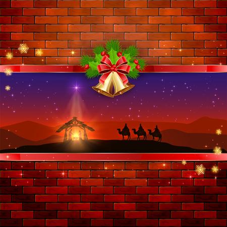 reyes magos: Navidad escena del nacimiento de Jes�s con la estrella de navidad, tres hombres sabios, campanas de oro, arco rojo, bayas del acebo, las estrellas y los copos de nieve sobre fondo de pared de ladrillo, ilustraci�n.