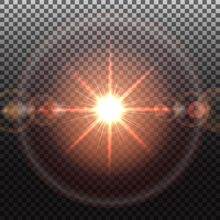 solar flare: Solar flare, special effect of bright star, glowing burst, transparent shine light effect, illustration.