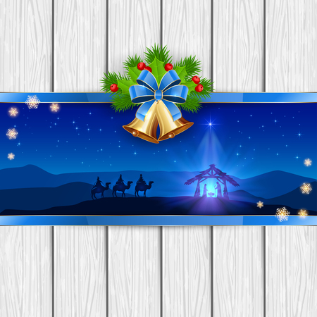 christmas star background: Christmas scene the birth of Jesus with Christmas star, three wise men, golden bells, red bow, holly berries, stars and snowflakes on white wooden background, illustration.