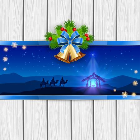 reyes magos: Navidad escena del nacimiento de Jes�s con la estrella de navidad, tres hombres sabios, campanas de oro, arco rojo, bayas del acebo, las estrellas y los copos de nieve en el fondo de madera blanco, ilustraci�n. Vectores