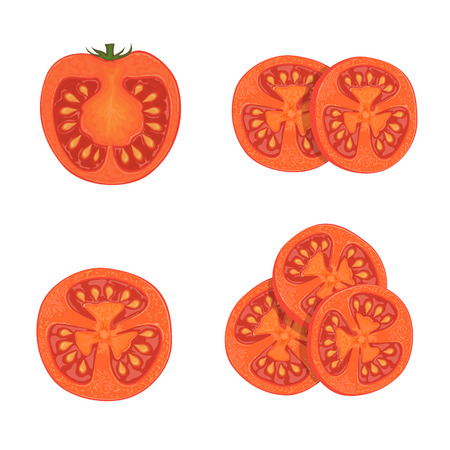 Set of red ripe tomatoes, round tomato slices, isolated on white background, illustration.