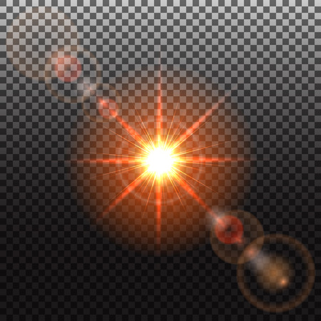 solar flare: Orange Sun and solar flare, special effect of bright star, glowing burst, transparent shine light effect, illustration.