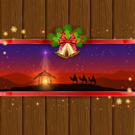 wise men: Navidad escena del nacimiento de Jesús con la estrella de navidad, tres hombres sabios, campanas de oro, arco rojo, bayas del acebo, las estrellas y los copos de nieve sobre fondo de madera, ilustración.