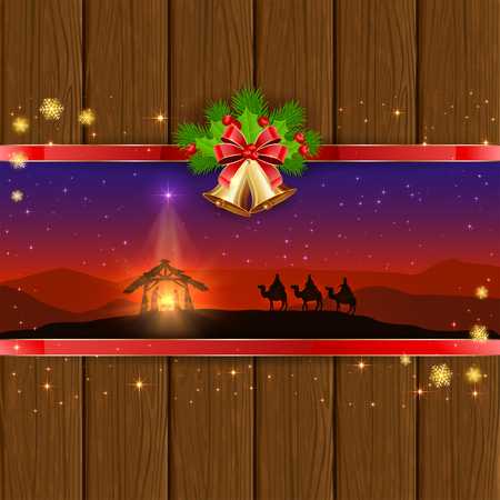 Christmas scene the birth of Jesus with Christmas star, three wise men, golden bells, red bow, holly berries, stars and snowflakes on wooden background, illustration.