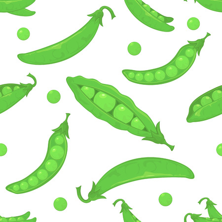 sweet pea: Seamless wallpaper with ripe green peas on white background, illustration.