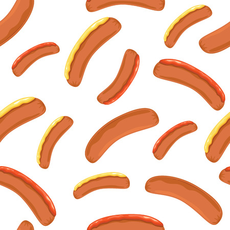 Seamless wallpaper with sausages, mustard and ketchup on white background, illustration.