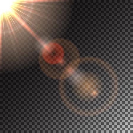 Sun and sun glare, special effects, solar flares, transparent light glitter effect, illustration. Illustration