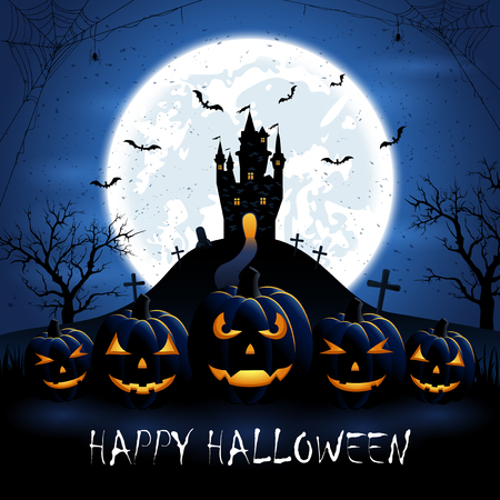 necropolis: Halloween pumpkins and old castle on blue night background with full Moon, illustration. Illustration