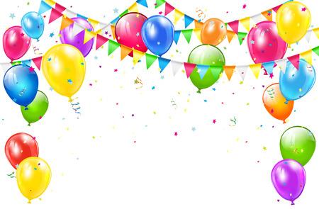 Fondo del feliz cumpleaños con juego de globos de colores, banderines multicolores y confeti sobre fondo blanco, ilustración.