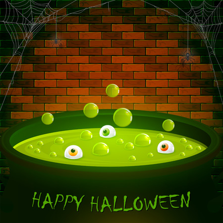 Halloween cauldron on a brick wall background with green potion, bubbles and eyes, illustration.