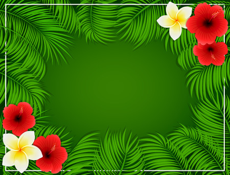 beautiful red hibiscus flower: Summer background with Hawaiian flowers, frangipani and hibiscus with set of palm leaves on green background, illustration.