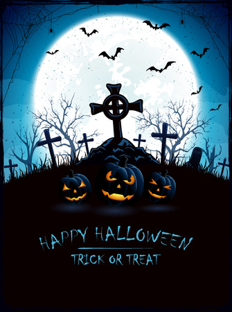 all saints day: Halloween pumpkins and a old cross in the cemetery, blue night background with full Moon, illustration.