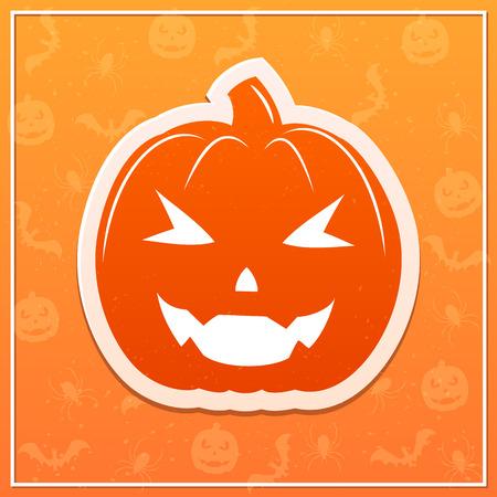 Flat Halloween pumpkin on orange background, illustration.