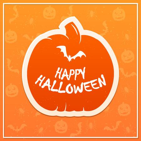 Flat pumpkin on orange background with inscription Happy Halloween and flying bat, illustration.