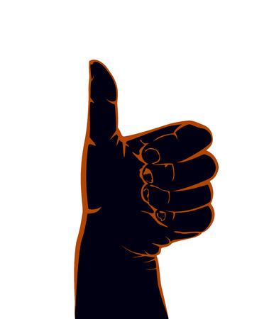 thumb up: Black hand with thumb up isolated on white background, illustration. Illustration