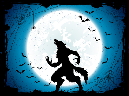Dark Halloween background with Moon on blue sky and werewolf, grunge decoration with cobweb, spiders and bats, illustration.