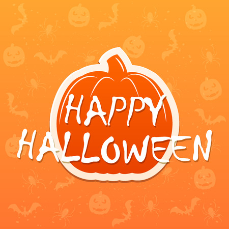 Flat pumpkin on orange background with inscription Happy Halloween, illustration. Illustration