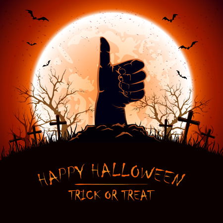 thumb up: Halloween background with Moon and hand with thumb up on cemetery, illustration. Illustration