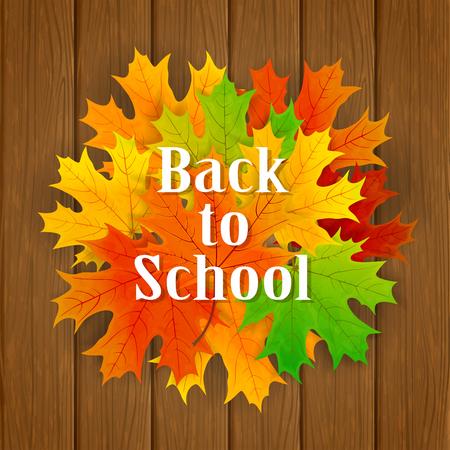 semester: Inscription Back to School and maple leaves on wooden background, illustration. Illustration
