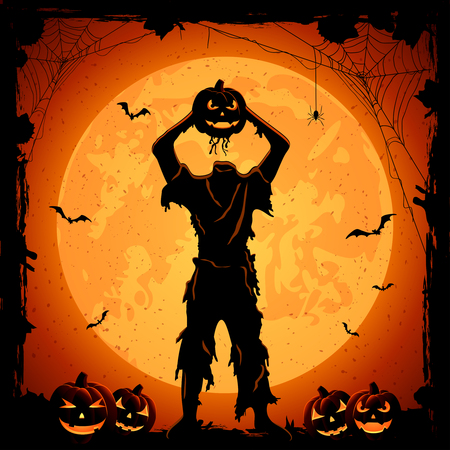 Monster with head of Halloween pumpkin, orange night background with full Moon, illustration. 矢量图像