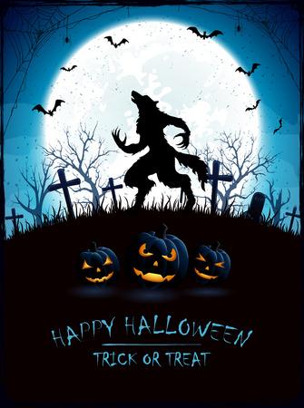 Blauwe achtergrond van Halloween met Maan en de weerwolf op begraafplaats, grunge decoratie met spinneweb, spinnen en vleermuizen, illustratie.