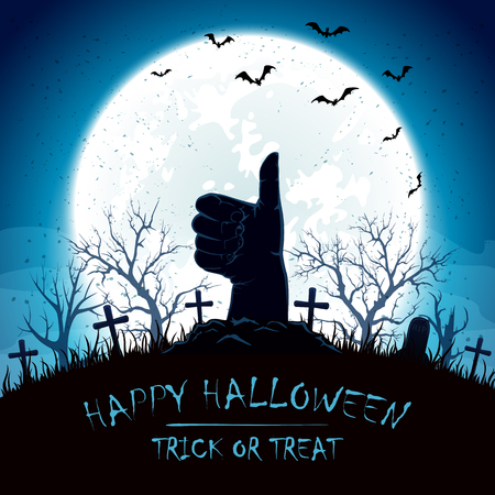 necropolis: Blue Halloween background with Moon and hand with thumb up on cemetery, illustration. Illustration